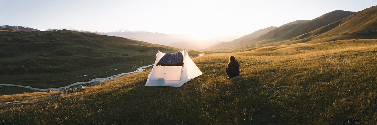 Camping with the Duos 2P and a view towards the idyllic mountains of Kyrgyzstan.